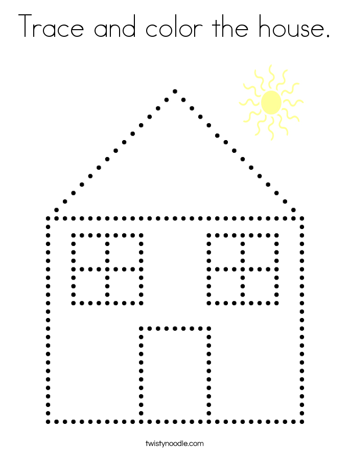 Trace and color the house. Coloring Page