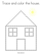 Trace and color the house Coloring Page