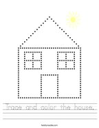 Trace and color the house Handwriting Sheet