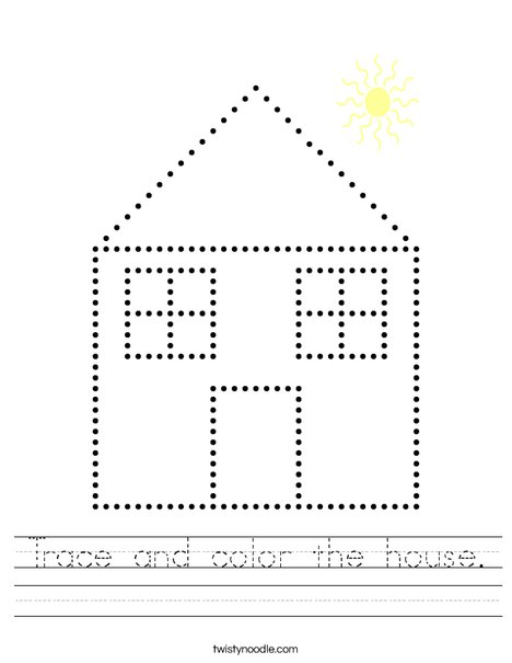 Trace and color the house. Worksheet