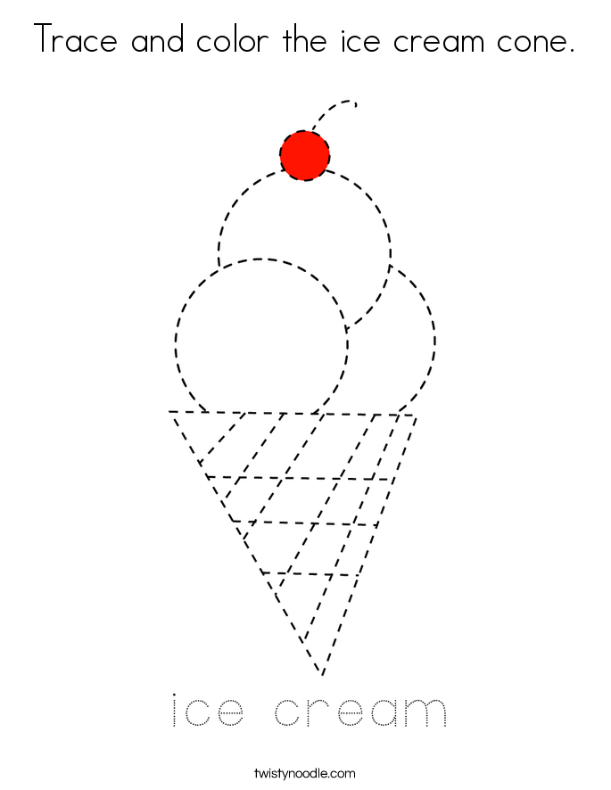 Trace and color the ice cream cone. Coloring Page