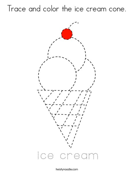 - Trace And Color The Ice Cream Cone Coloring Page - Twisty Noodle