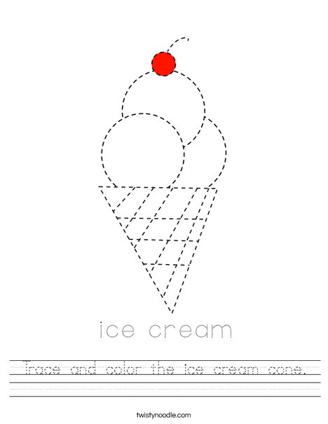 Trace and color the ice cream cone. Worksheet