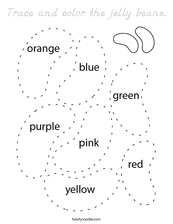 Trace and color the jelly beans. Coloring Page