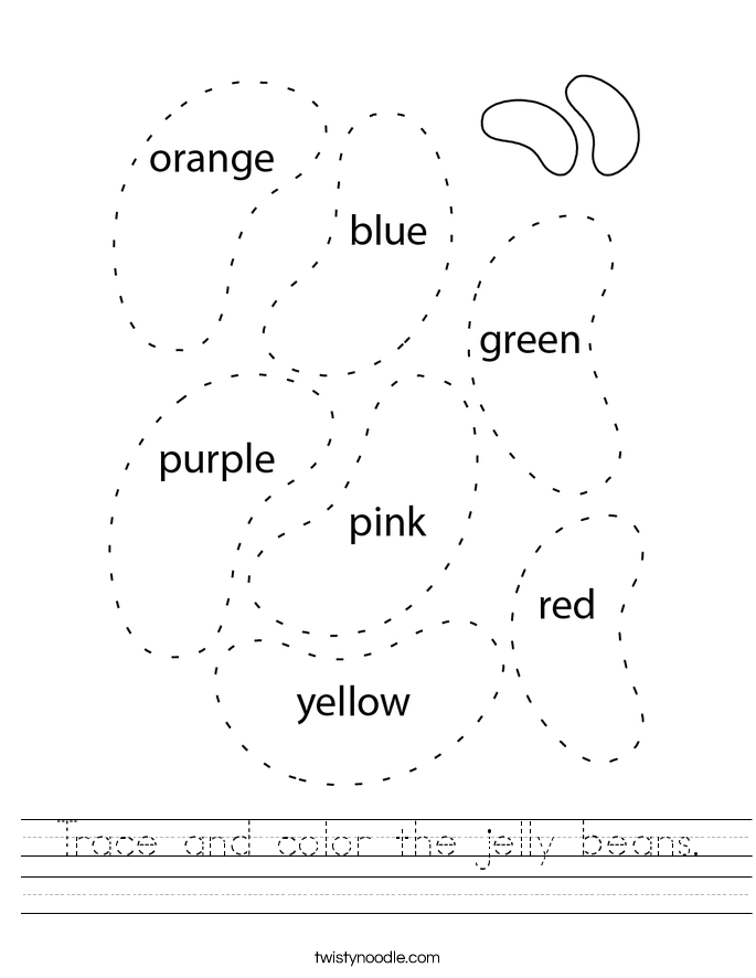 Trace and color the jelly beans. Worksheet