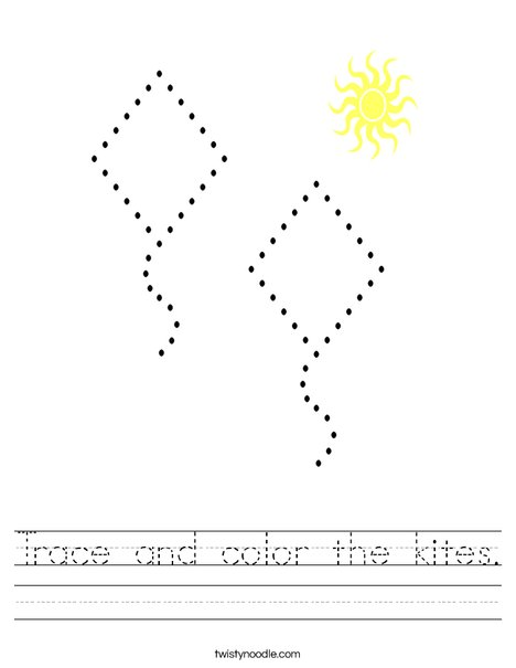 Trace and color the kites. Worksheet