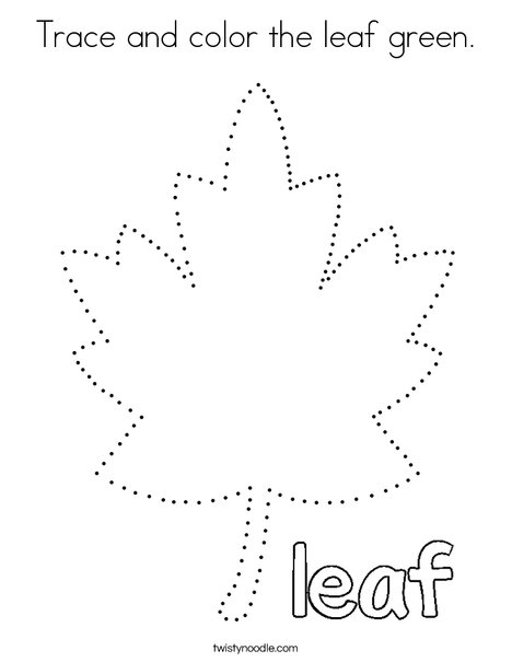 Trace and color the leaf green. Coloring Page