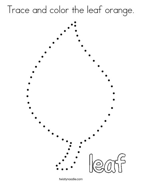 Trace and color the leaf orange. Coloring Page