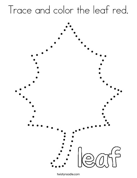 Trace and color the leaf red. Coloring Page