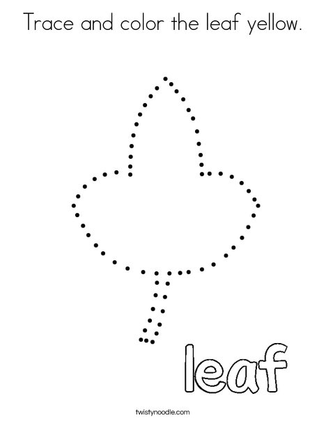 Trace and color the leaf yellow. Coloring Page