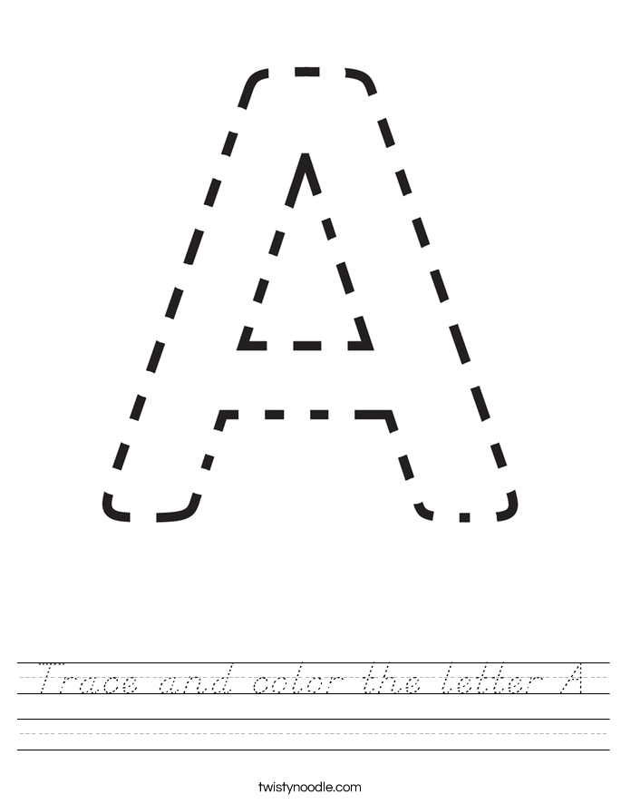 Trace and color the letter A Worksheet - D'Nealian ...