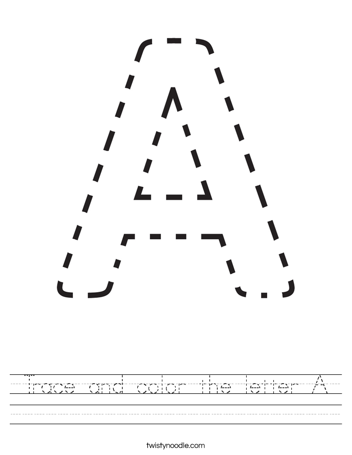 Trace and color the letter A Worksheet