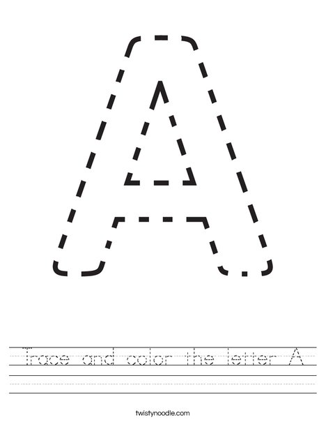 Trace and color the letter A. Worksheet