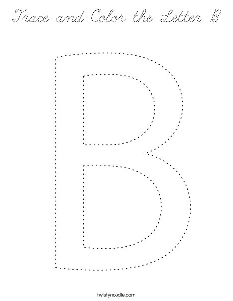 Trace and Color the letter B. Coloring Page