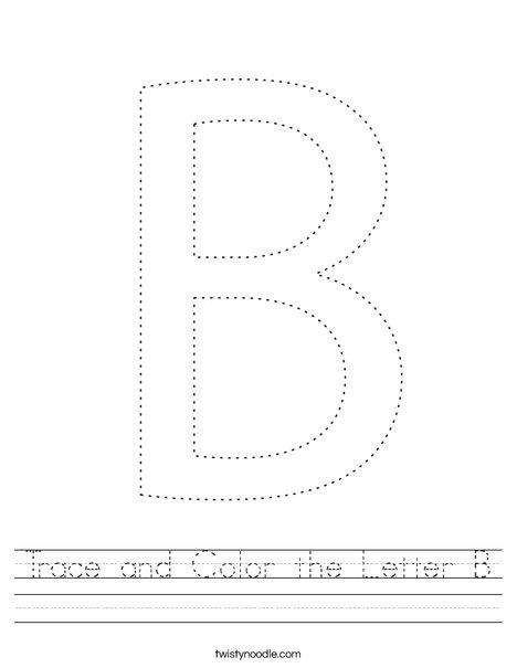 Trace and Color the letter B. Worksheet