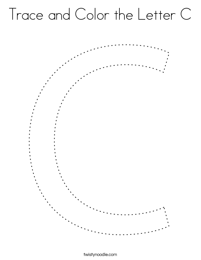 trace and color the letter c coloring page