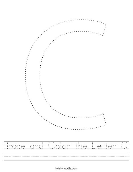 Trace and Color the Letter C. Worksheet