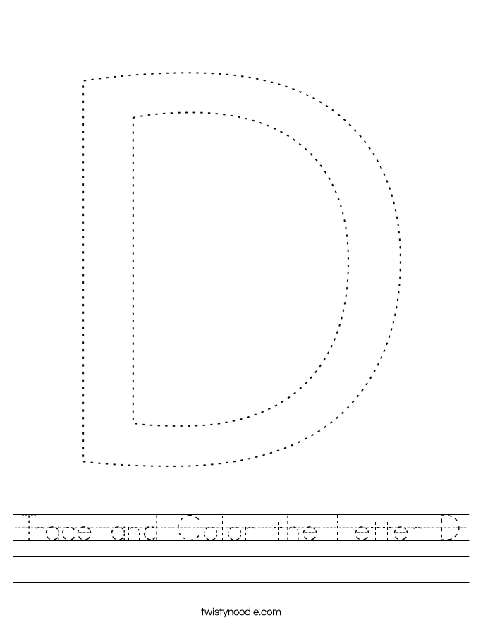 Trace and Color the Letter D Worksheet