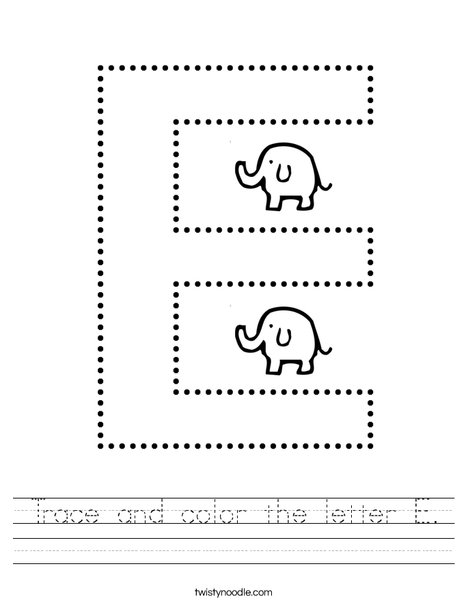 Trace and color the letter E. Worksheet