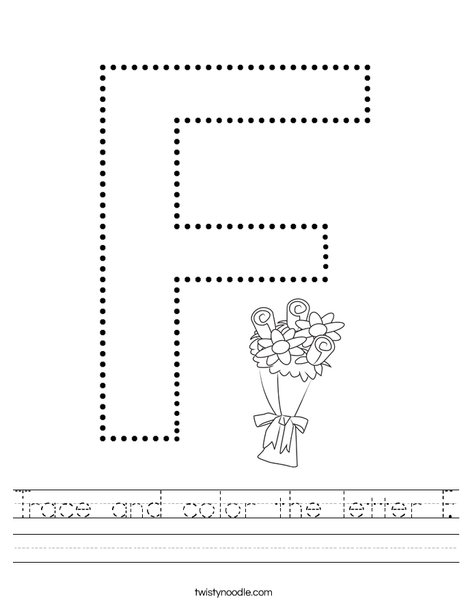 Trace and color the letter F Worksheet - Twisty Noodle