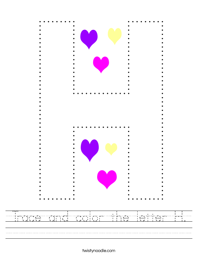 Trace and color the letter H. Worksheet
