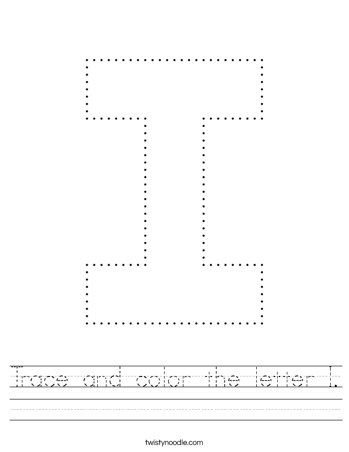 Trace and color the letter I. Worksheet