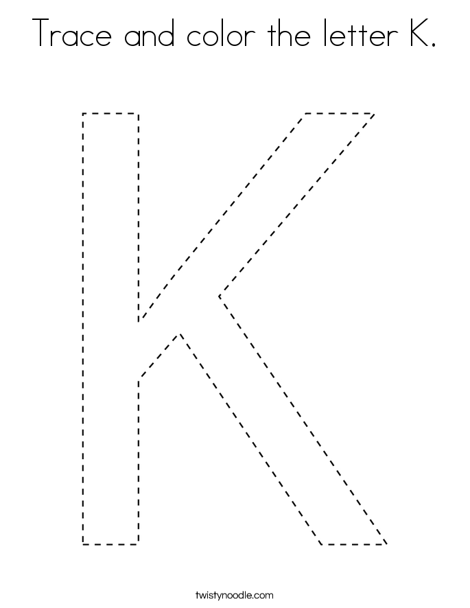 Trace and color the letter K. Coloring Page
