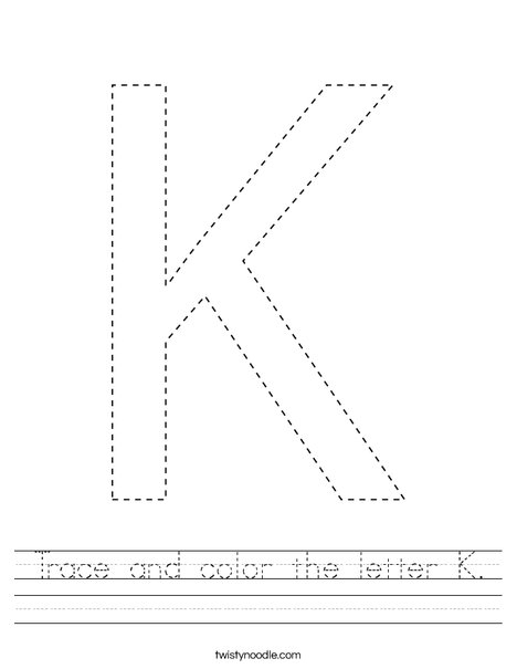 Trace and color the letter k. Worksheet