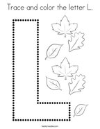 Trace and color the letter L Coloring Page