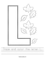 Trace and color the letter L Handwriting Sheet