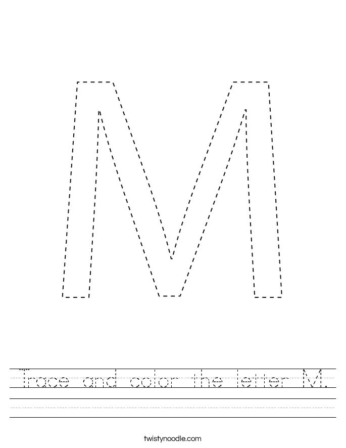 Trace and color the letter M. Worksheet