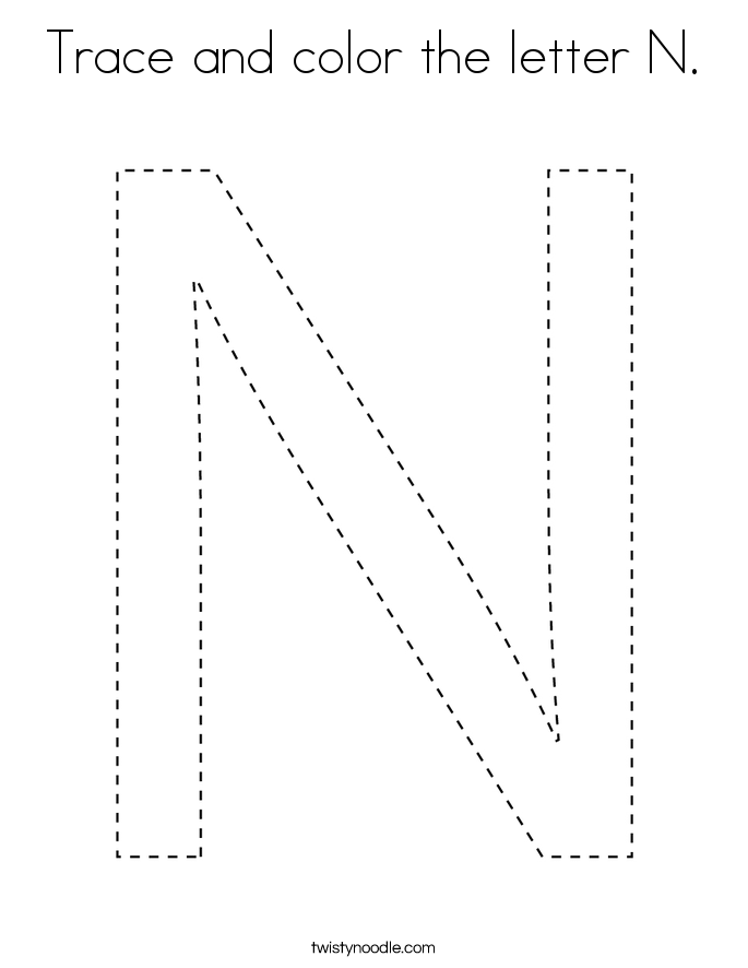 Trace and color the letter N. Coloring Page