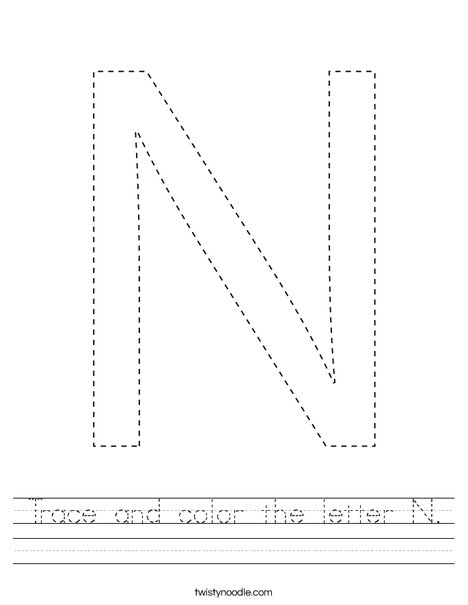 Trace and color the letter N. Worksheet