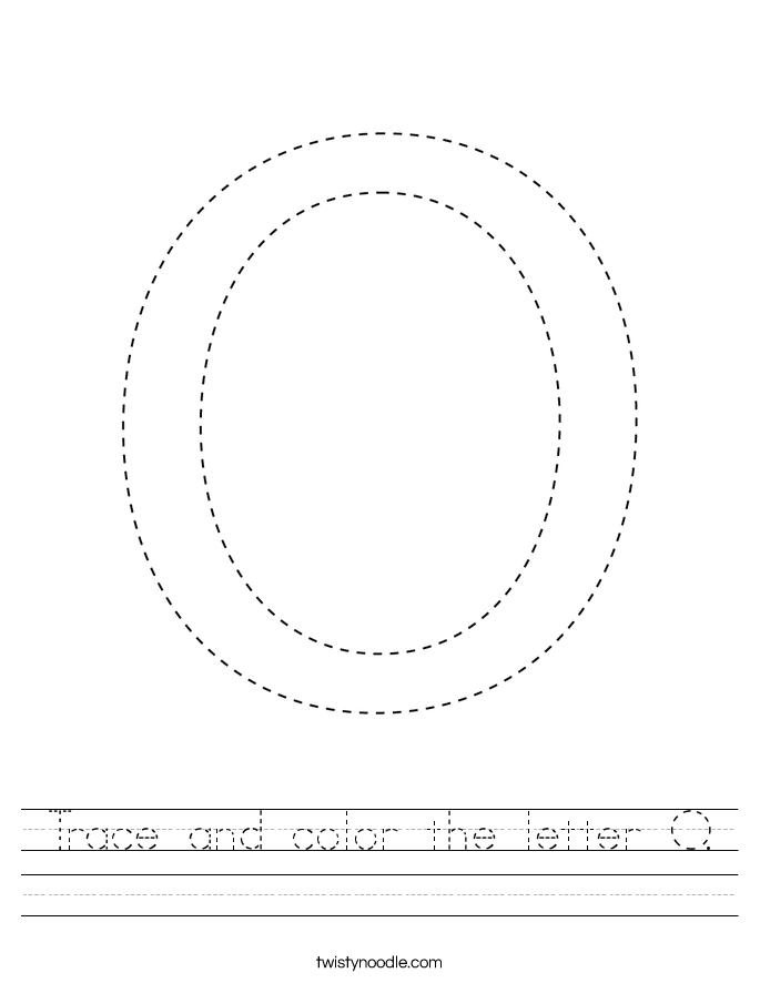 Trace and color the letter O. Worksheet
