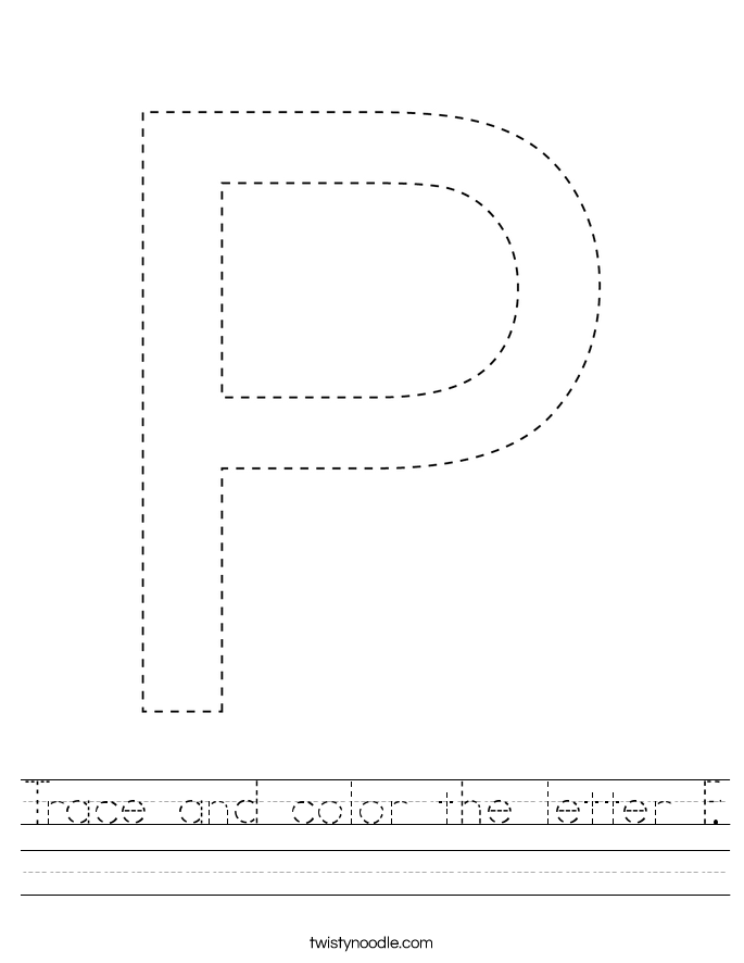 Trace and color the letter P. Worksheet