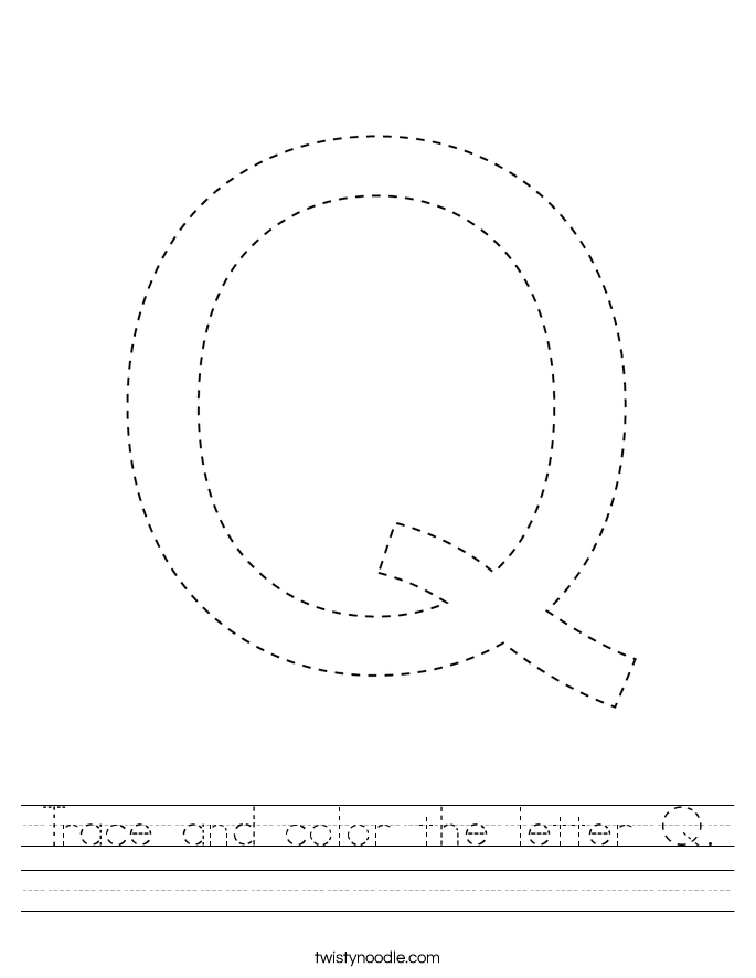 Trace and color the letter Q. Worksheet