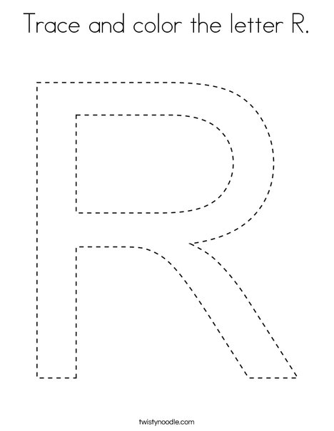 Trace and color the letter R. Coloring Page