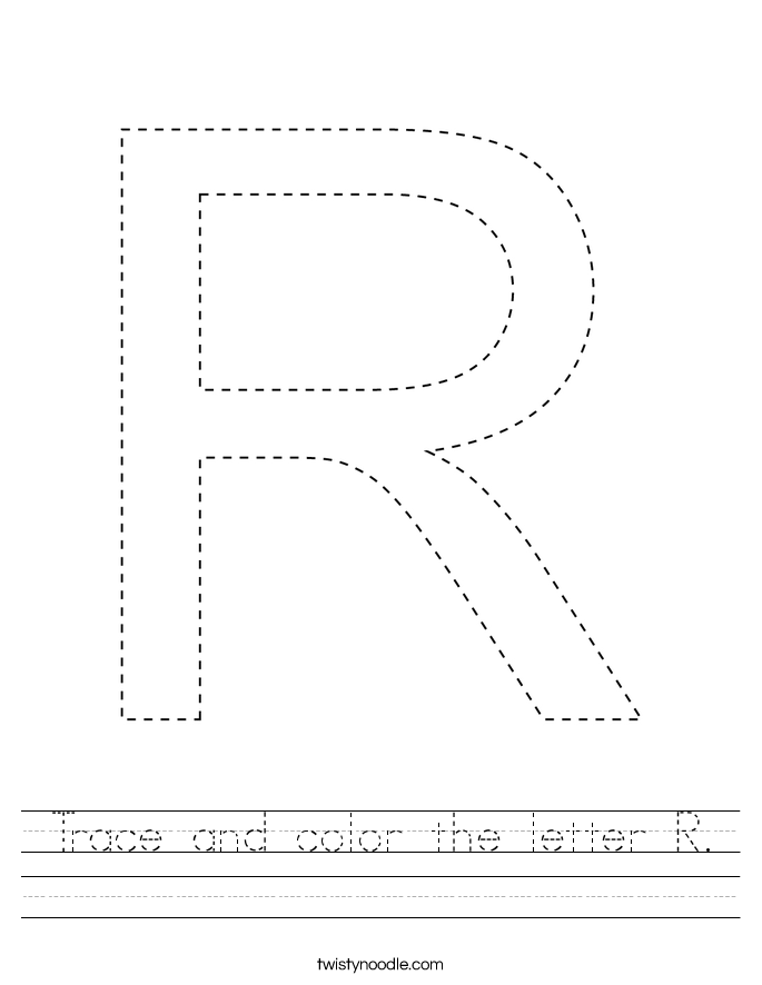 Trace and color the letter R. Worksheet