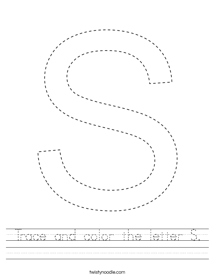 Trace and color the letter S. Worksheet