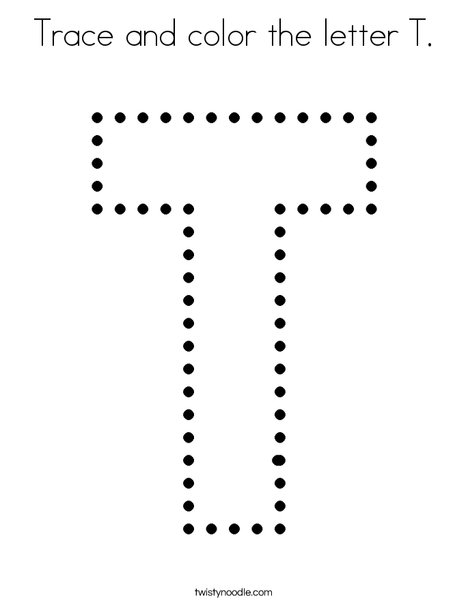 Trace and color the letter T. Coloring Page