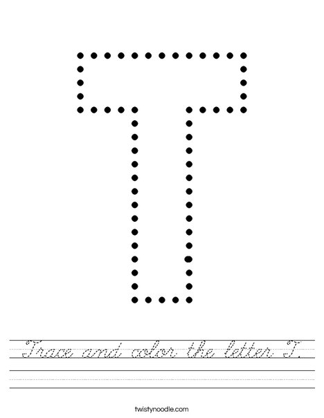 Trace and color the letter T Worksheet - Cursive - Twisty Noodle