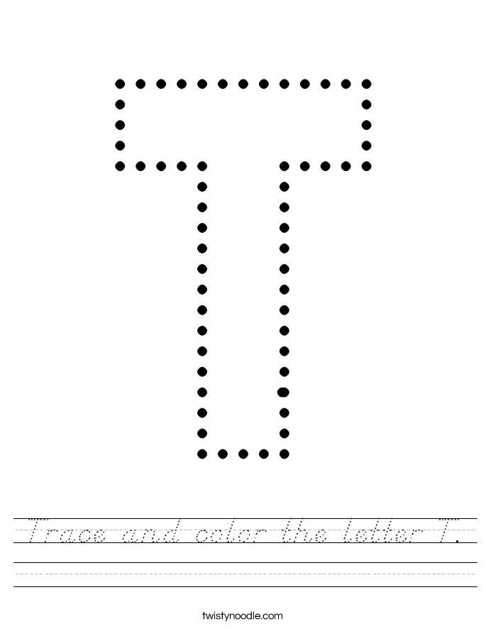 Trace and color the letter T. Worksheet