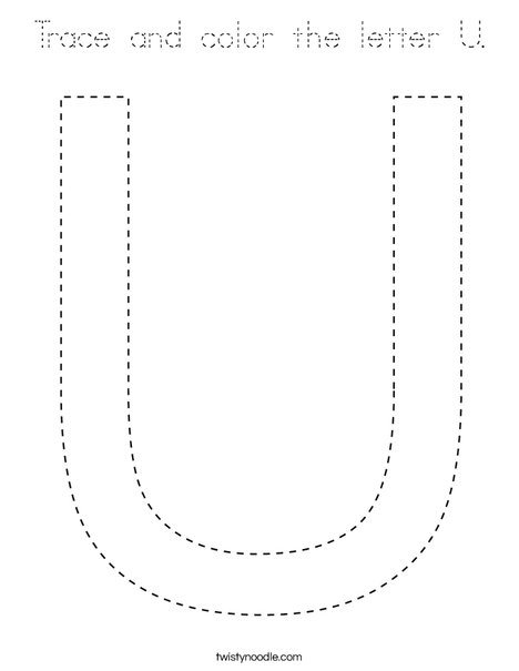 Trace and color the letter U. Coloring Page