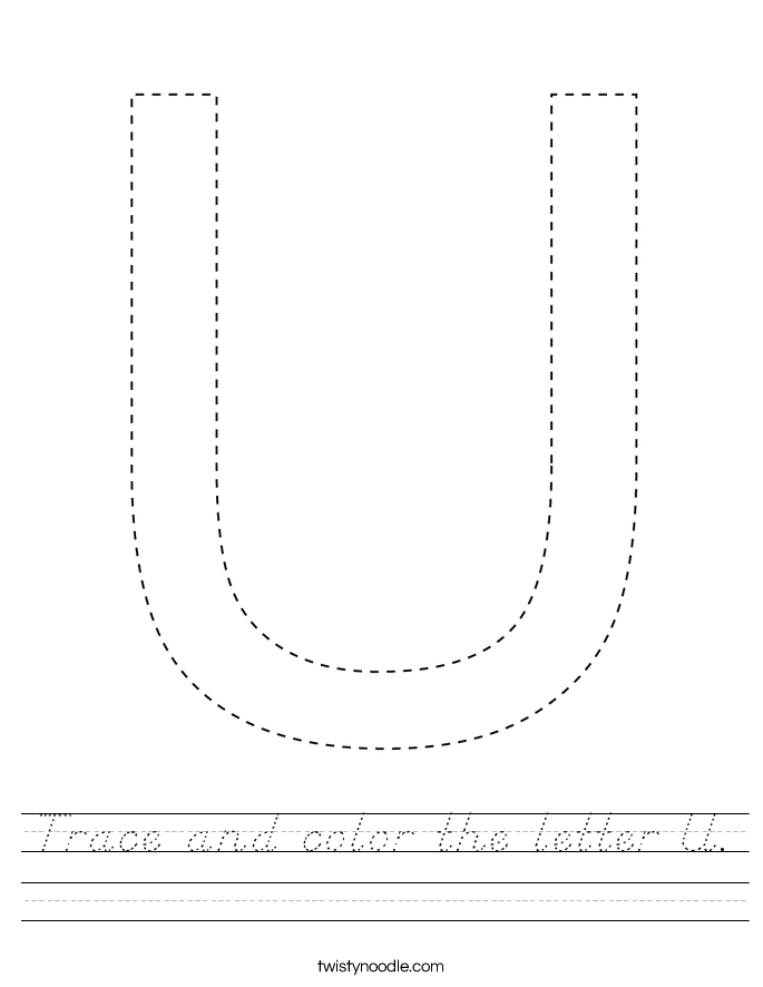 Trace and color the letter U. Worksheet