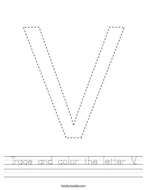 Trace and color the letter V. Worksheet