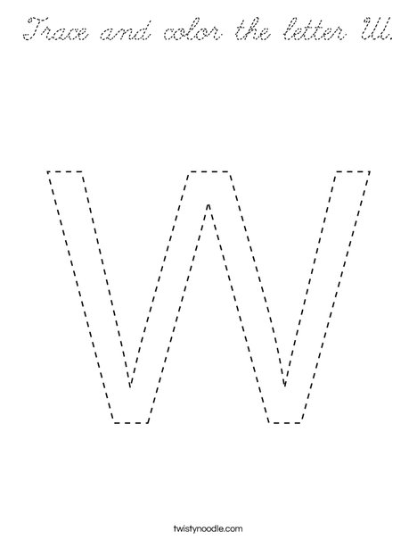 Trace and color the letter W. Coloring Page