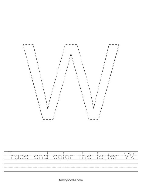 Trace and color the letter W. Worksheet