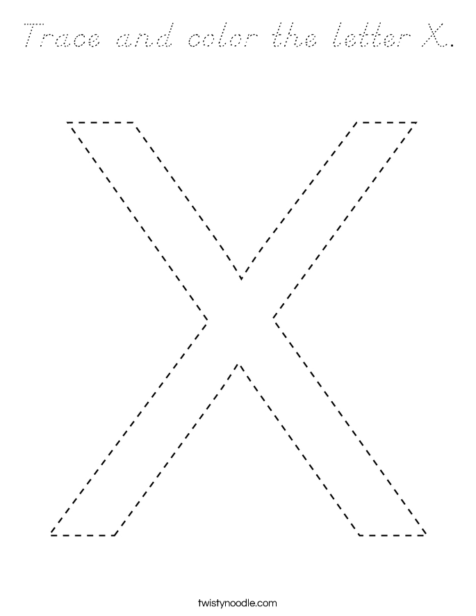 Trace and color the letter X. Coloring Page