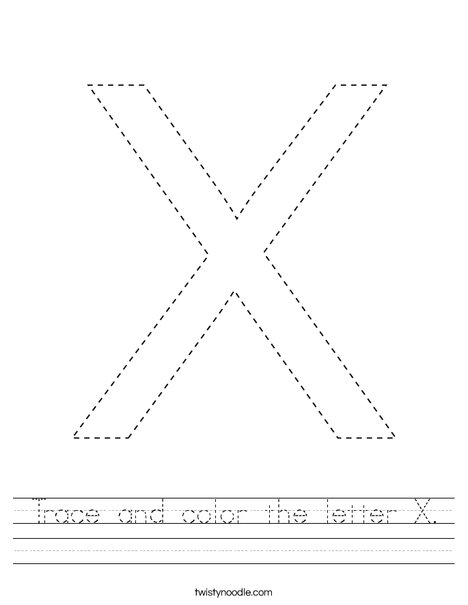 Trace and color the letter X. Worksheet
