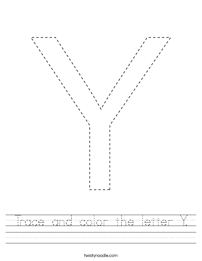 Trace and color the letter Y. Worksheet